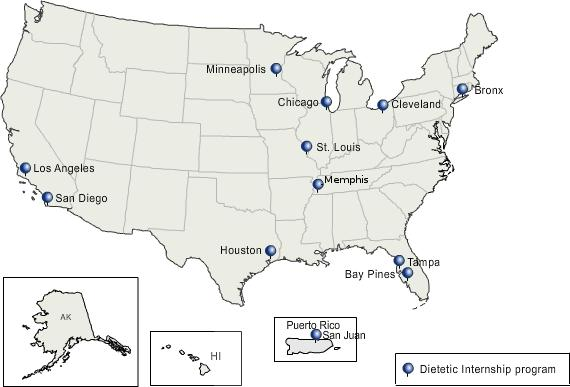 Image of US map showing program cities